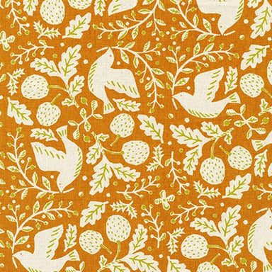 Sevenberry Canvas- Cotton Flax - Busy birds on caramel