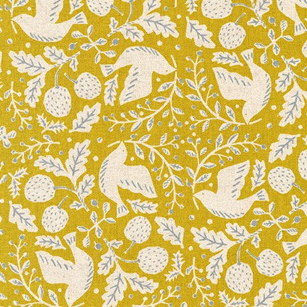 Sevenberry Canvas- Cotton Flax - Busy birds on chartreuse