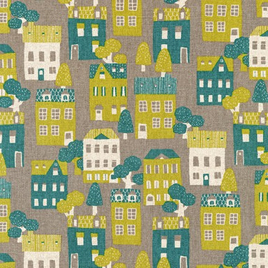 Sevenberry Canvas- Cotton Flax - Neighbourhood houses on grey
