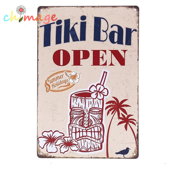 TIKI BAR OPEN Vintage Tin Sign
