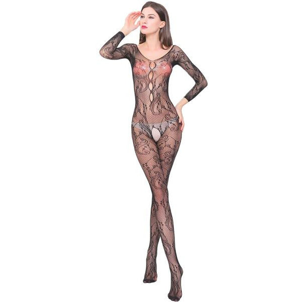 Crotchless Patterned Bodystocking