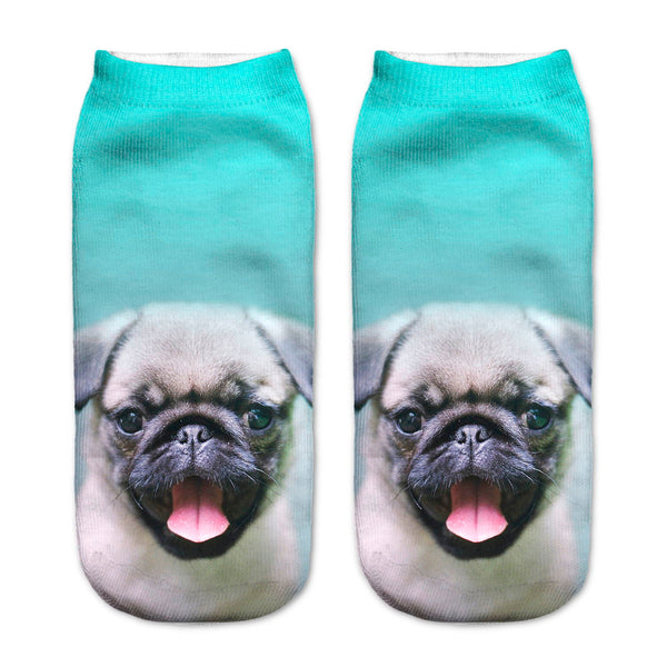 Hot 3D Printed PUG Cotton Low Anklet Sock