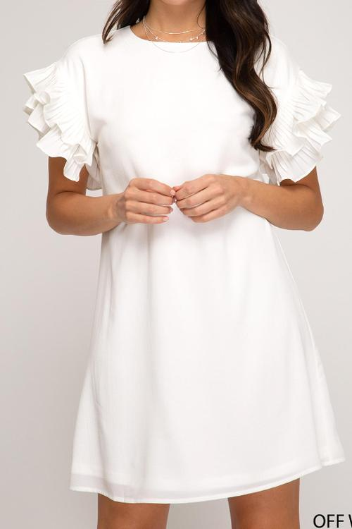 Pleated Short Sleeve Woven Shift Dress