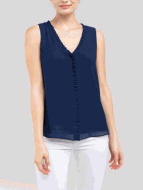 Navy Sleeveless Pleated Top