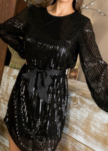 Black Bubble SLeeve Zipper Back Sequin Dress