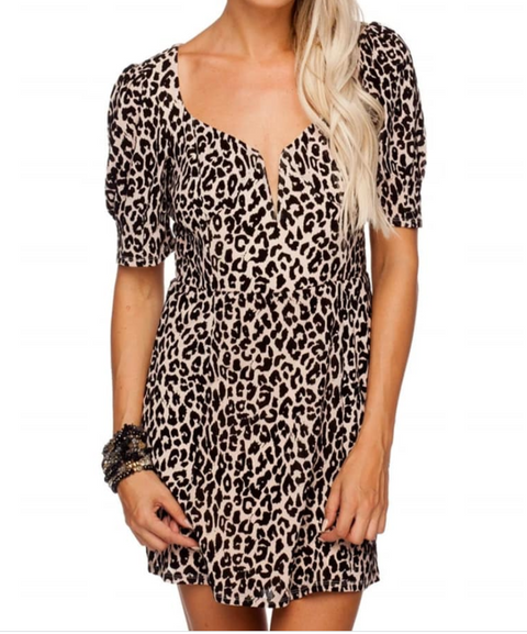 BL Animal Print Velvet Mini Dress