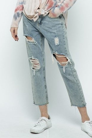 Light Denim Distressed Boyfriend Jeans