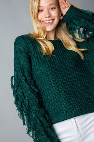 Hunter Green Fringe Crop Sweater