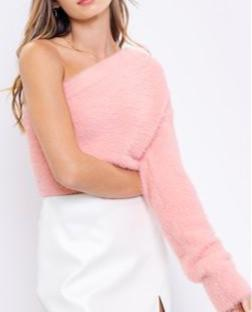 Pink One Shoulder Fuzzy Sweater