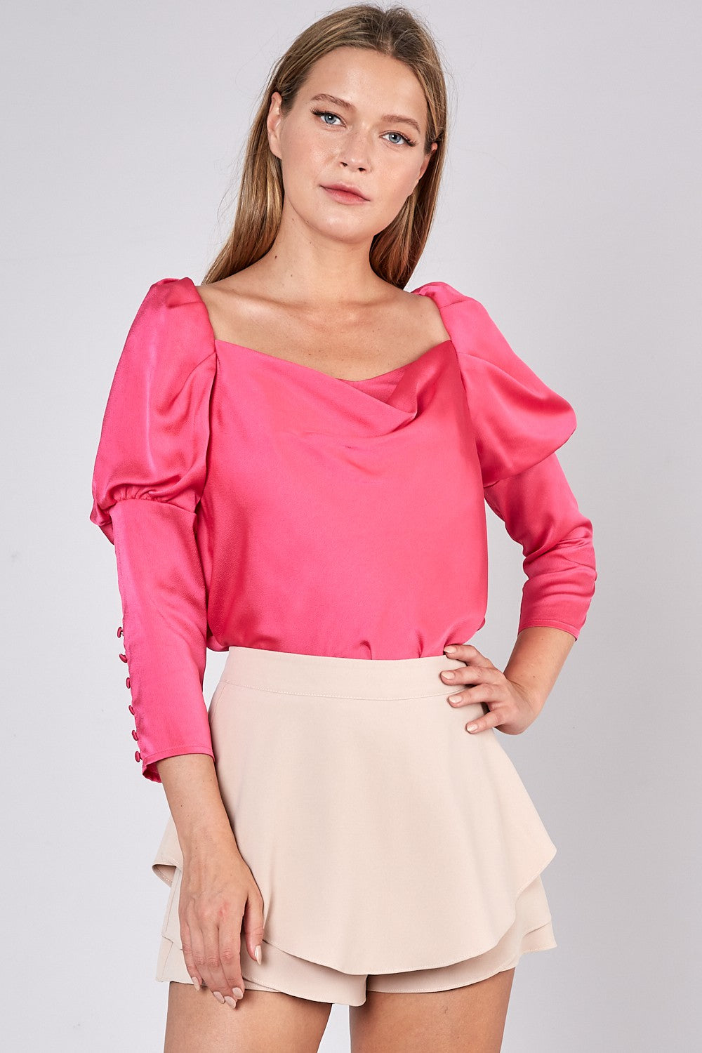 Pink Puff Sleeve Draped Front Top