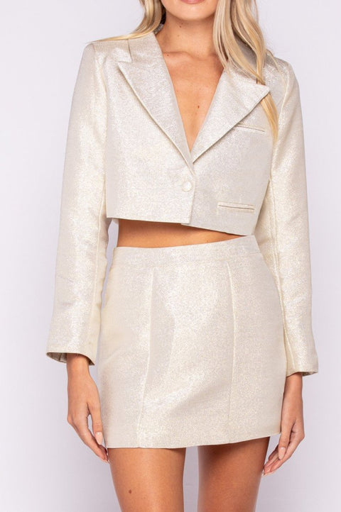 Gold Jacket and Skirt Set
