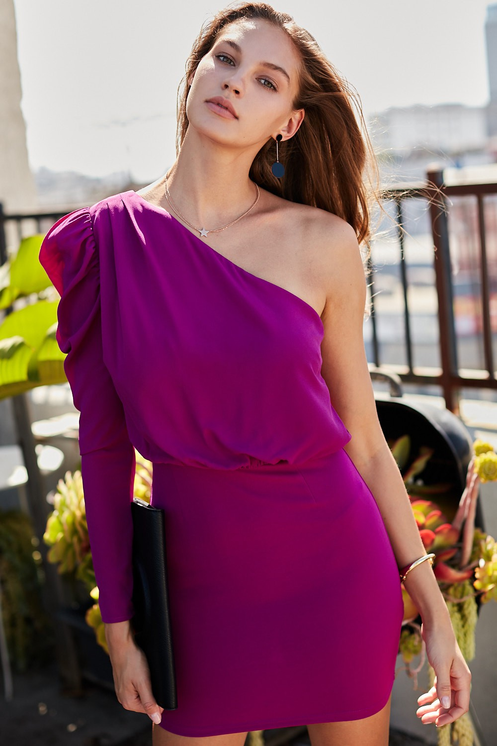 Magenta One Shoulder Puff Sleeve Dress