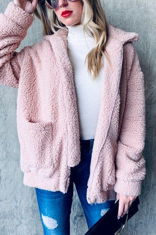 Dusty Pink Sherpa Teddy Jacket