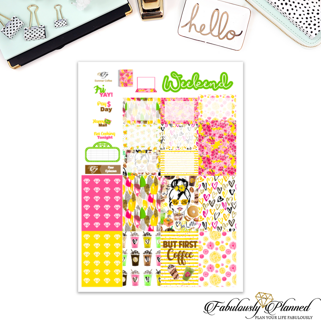 Summer Coffee Collection Happy Planner Weekly Kit
