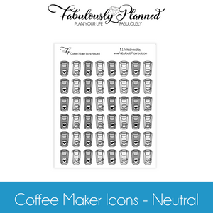 Coffee Maker Icons Neutral Stickers $1 Wednesday