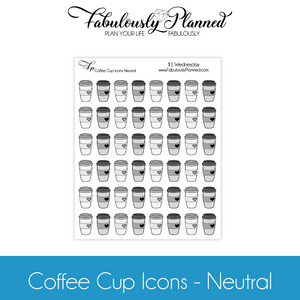 Coffee Cup Icons Neutral Stickers $1 Wednesday