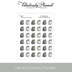 Neutral Grocery Doodle Stickers $1 Wednesday