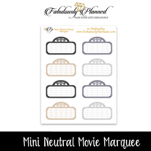 Mini Neutral Movie Stickers $1 Wednesday