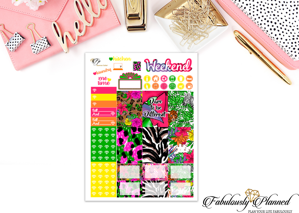 Summer Safari Happy Planner Weekly Kit