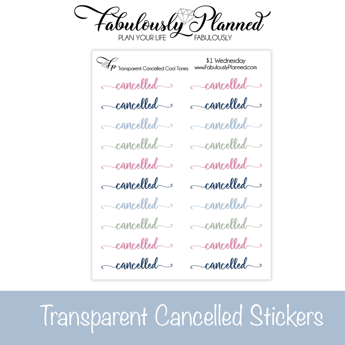 Transparent Cancelled Cool Tones Stickers