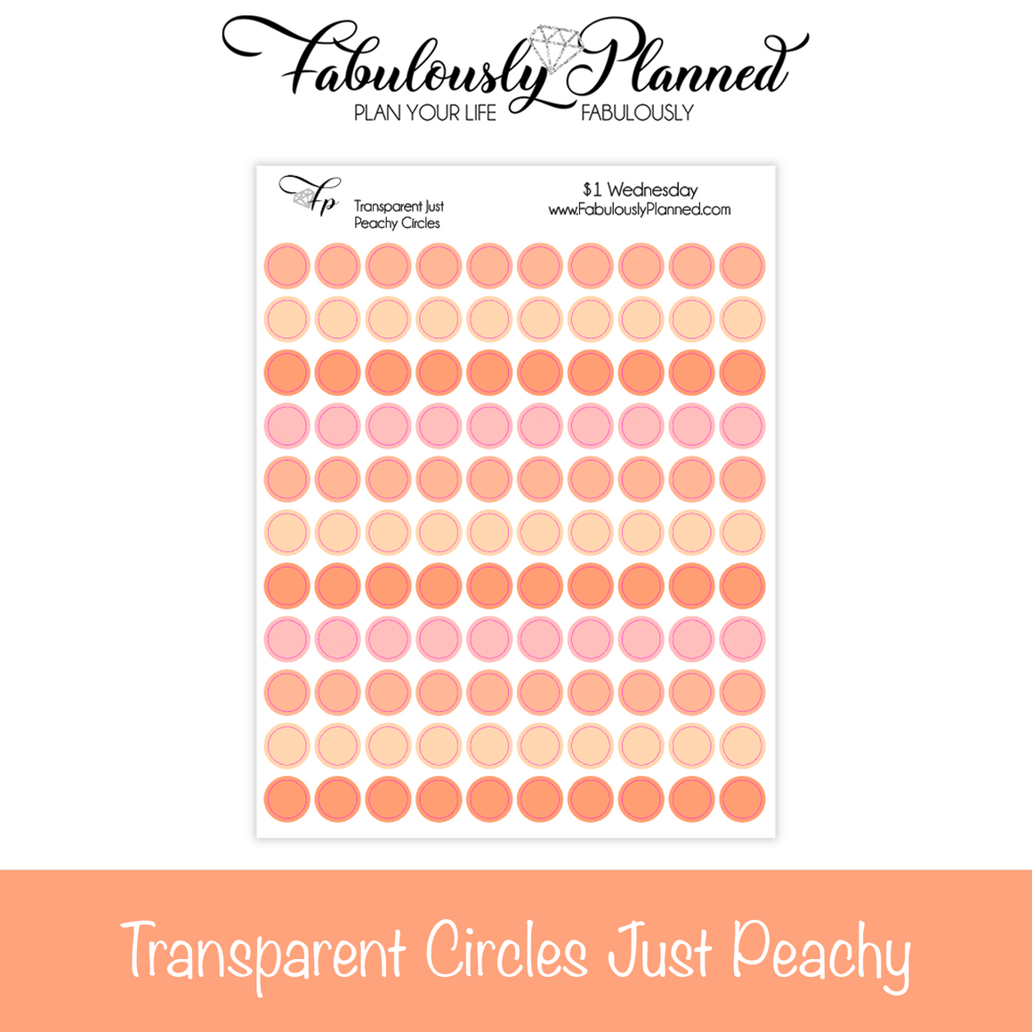 Transparent Circles Just Peachy Stickers