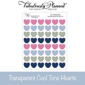 Transparent Cool Tones Heart Stickers