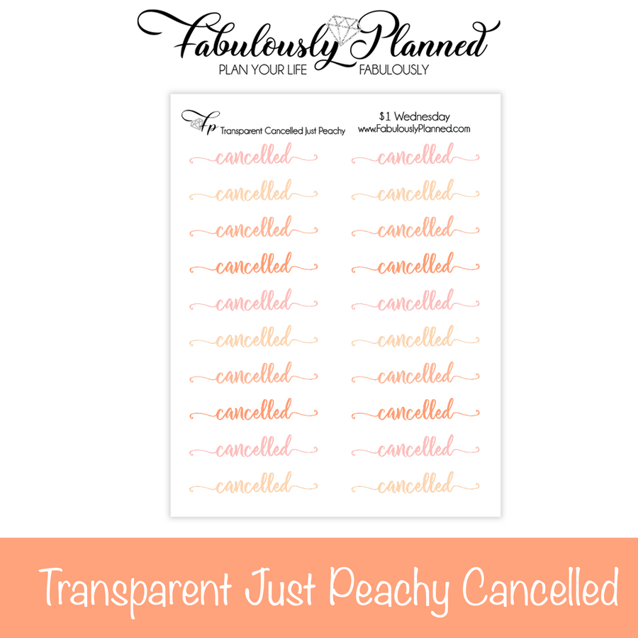 Transparent Cancelled Just Peachy Stickers