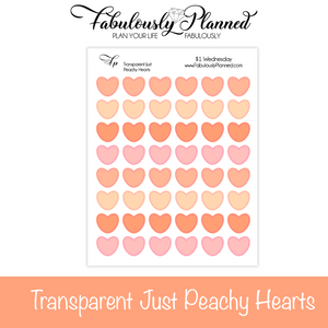 Transparent Just Peachy Heart Stickers