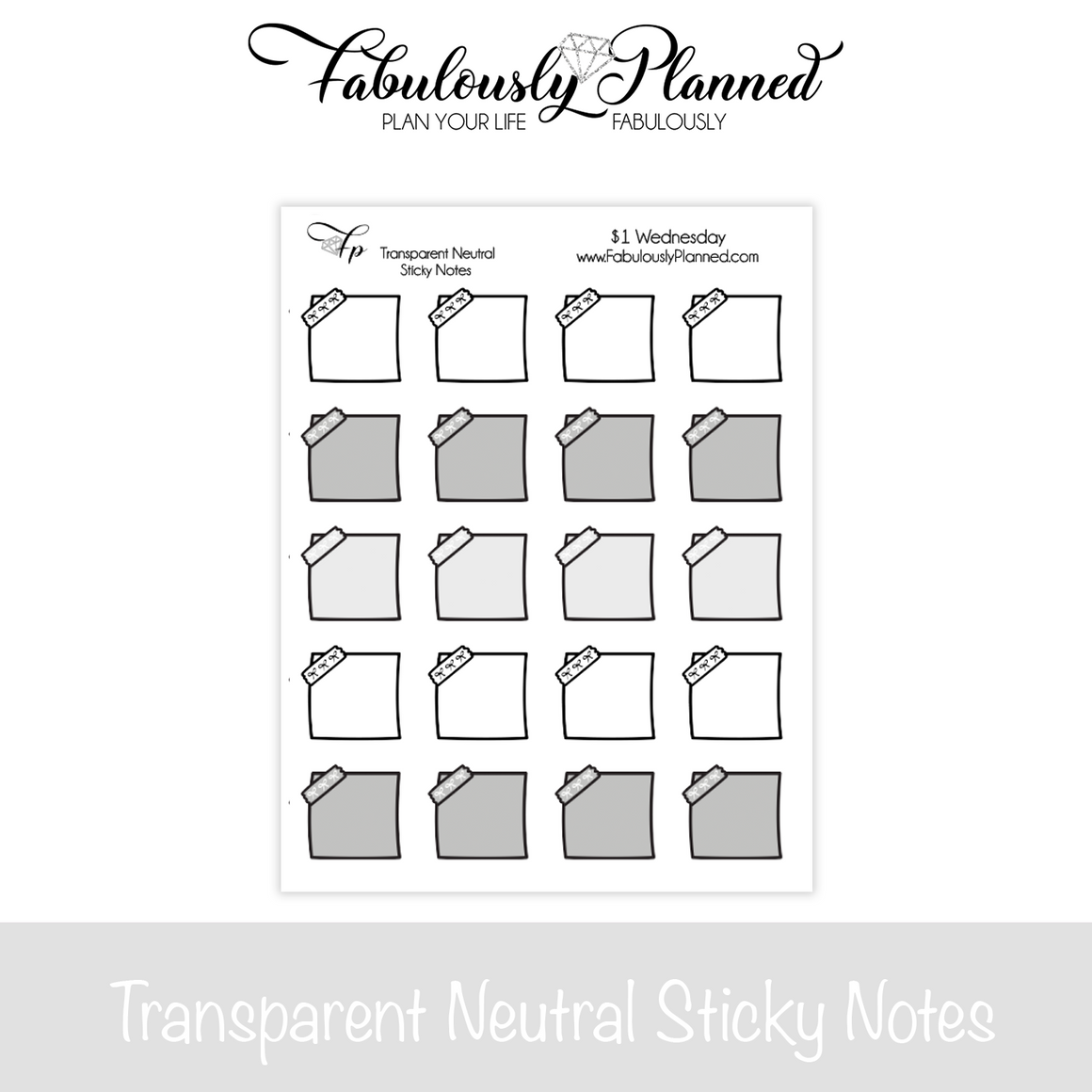 Transparent Neutral Sticky Note Stickers