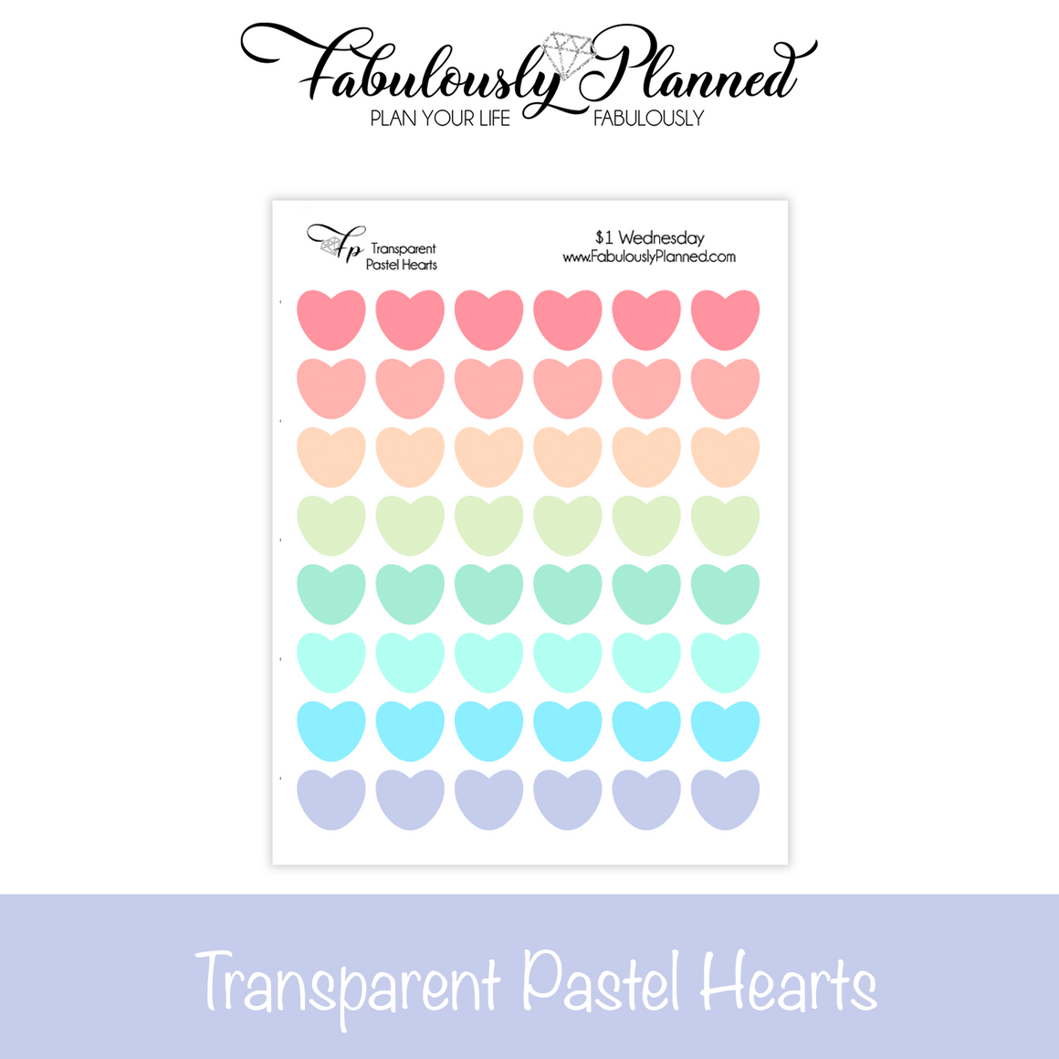 Transparent Pastel Hearts Stickers