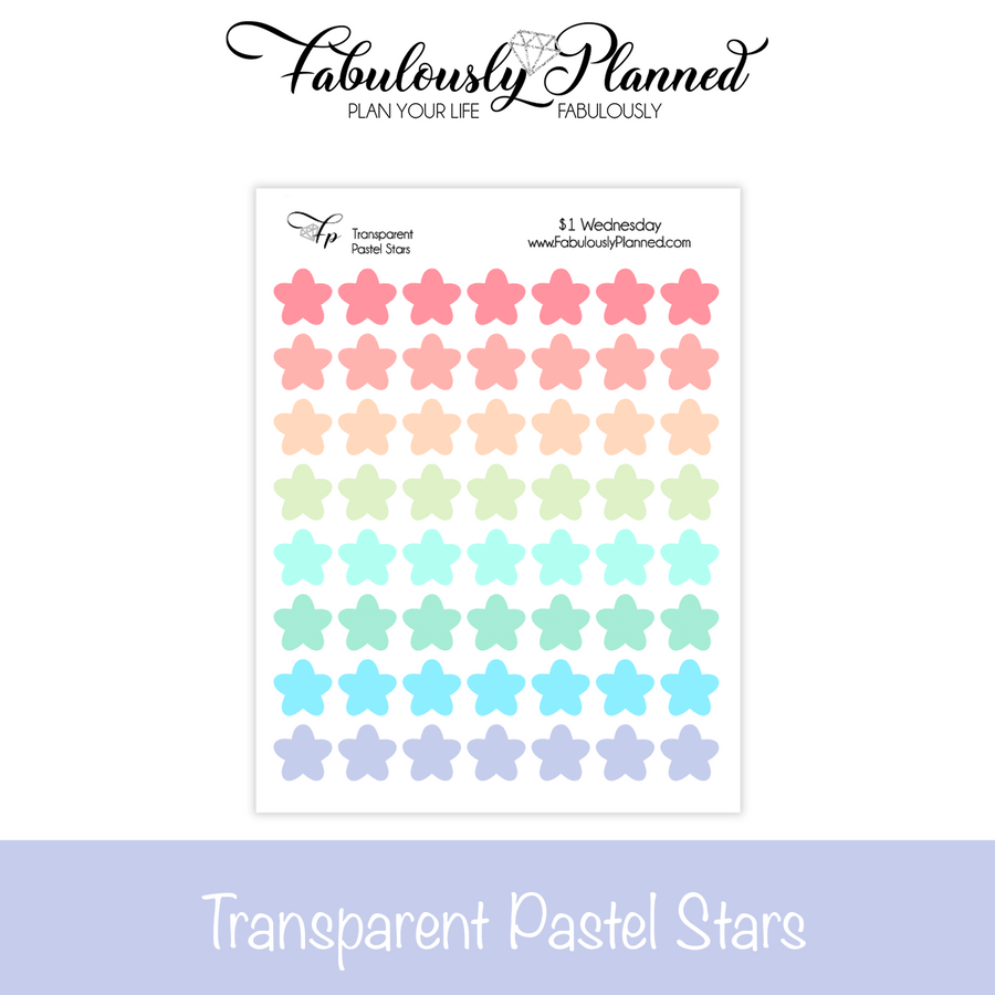 Transparent Pastel Star Stickers