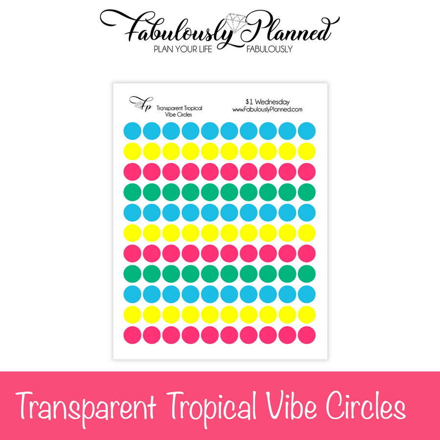 Transparent Tropical Vibe Circle Stickers