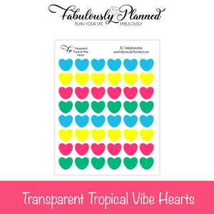 Transparent Tropical Vibe Hearts Stickers