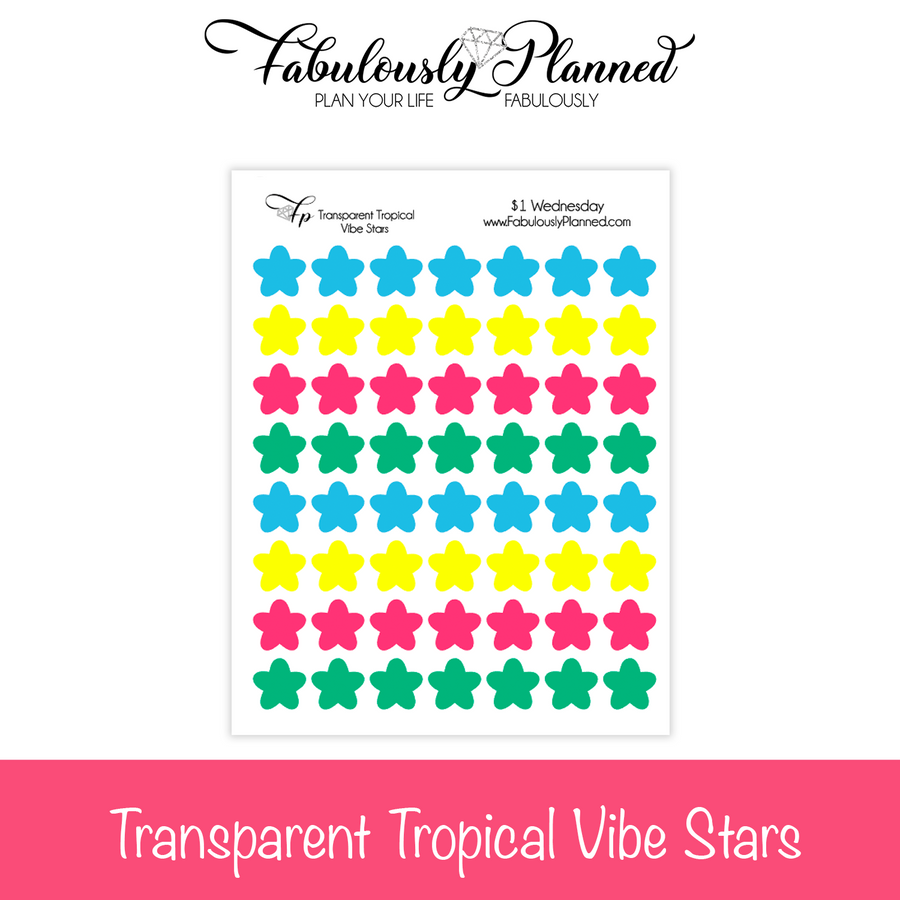 Transparent Tropical Vibe Star Stickers