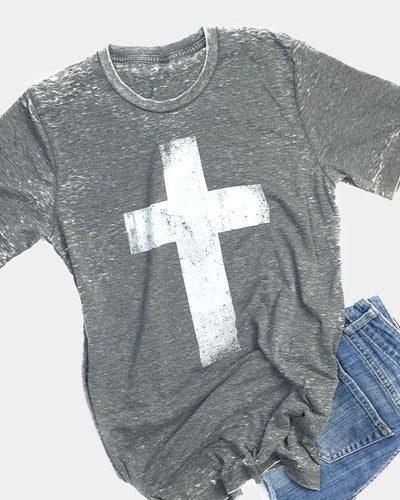 This is our original super-soft acid wash grey cross tee with a white design.