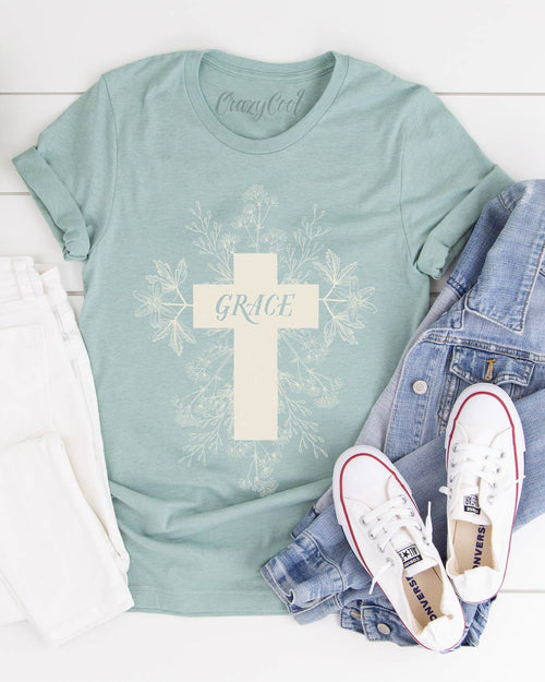 Grace (Floral Cross) - Tee