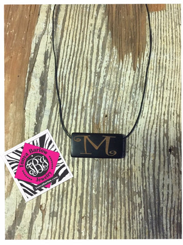 Small Black Rectangle Wood Necklace with ONE initial