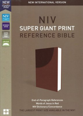NIV Super-Giant Print Reference Bible--soft leather-look, brown
