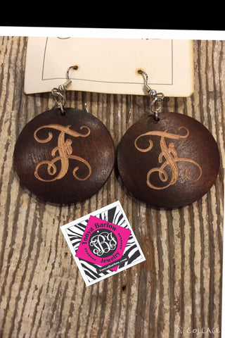 "Large Round Dark Wood Earrings (1.5"") w/ ONE Initial"