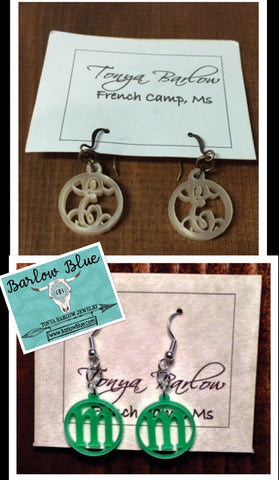 Small Acrylic Earrings with ONE initial - block or script font