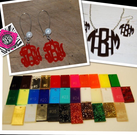 Acrylic Cut Out Monogram Earrings