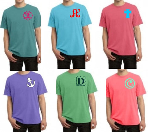 ONE INITIAL Monogram on Comfort Short Sleeve Tee Shirt Adult Sizes (Pigment Dyed Comfort Tee)