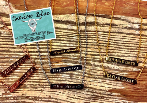 Bar Necklaces ~ Gold, Silver or Rose Gold.  Customize to say ANYTHING you want!