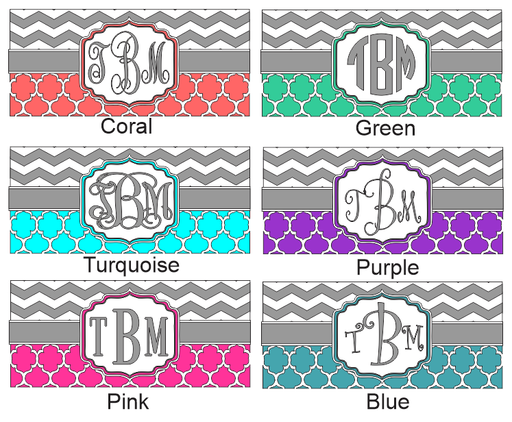Car Tag- Quatrefoil and Chevron Pattern