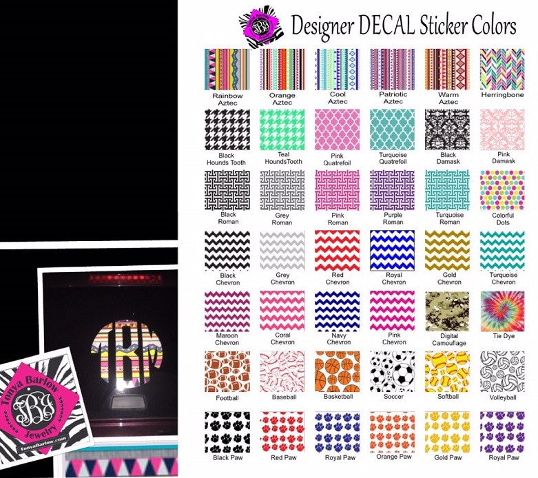 Decal Stickers- Patterned Decal Stickers for Car Windows, Computers, Yeti Cups and More!