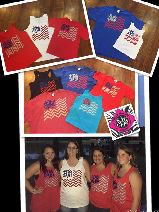 American Flag Monogram on TEE or TANK-  ADULT Sizes