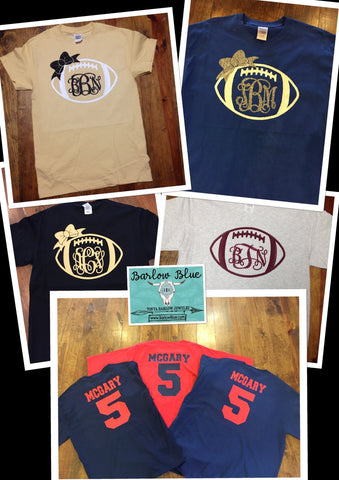Football (or any other sport) Monogrammed Tee Shirt