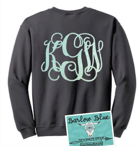 Sweatshirt with Large Monogram- ADULT Sizes