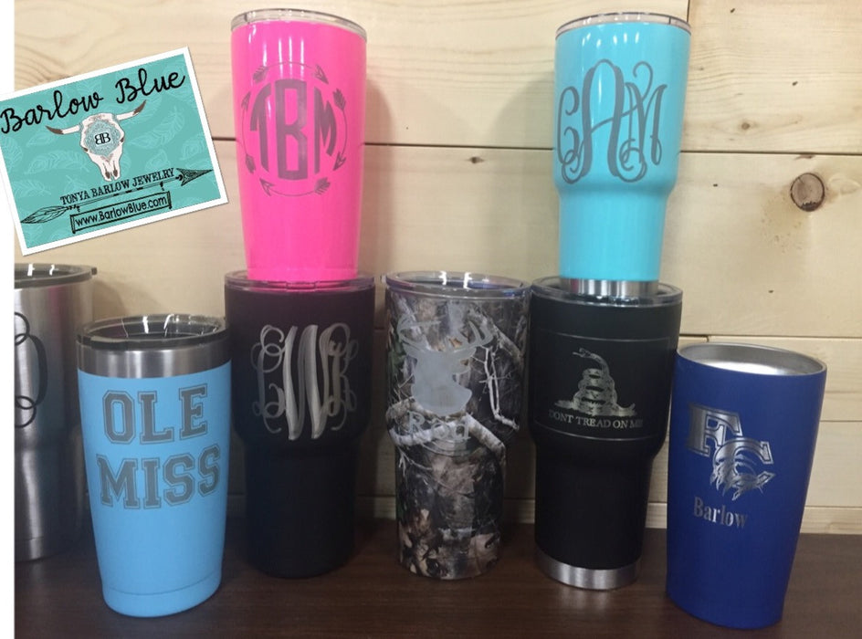 Laser Engraved Tumblers.  20oz, & 30oz.  Permanent Engraving