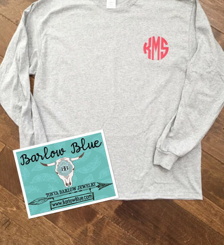 Long Sleeved Tee with Small Pocket Monogram. ADULT SIZES